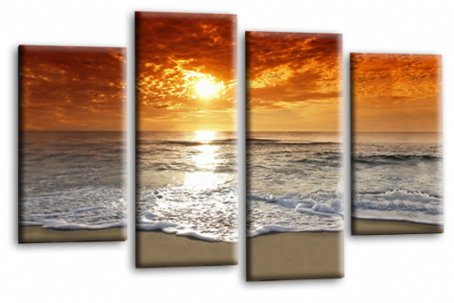 Sunset Seascape Canvas Picture Wall Art Beach Print Orange Grey